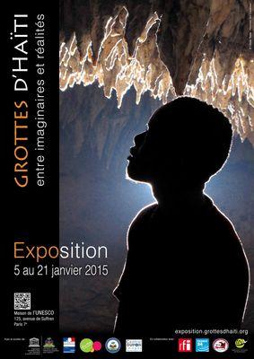 Exposition Grottes d'Haiti, entre imaginaires et realites; 5-21 janvier 2015; Maison de l'UNESCO, Paris. Affiche de l'exposition. (PRNewsFoto/Association Hommes des Cavernes)