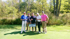 Bankers Healthcare Group golf teammates stand by the company-sponsored hole with actor Stephen Baldwin at Aiming Fore the Cure, the Carol M. Baldwin Breast Cancer Research Fund of CNY charity golf tournament.