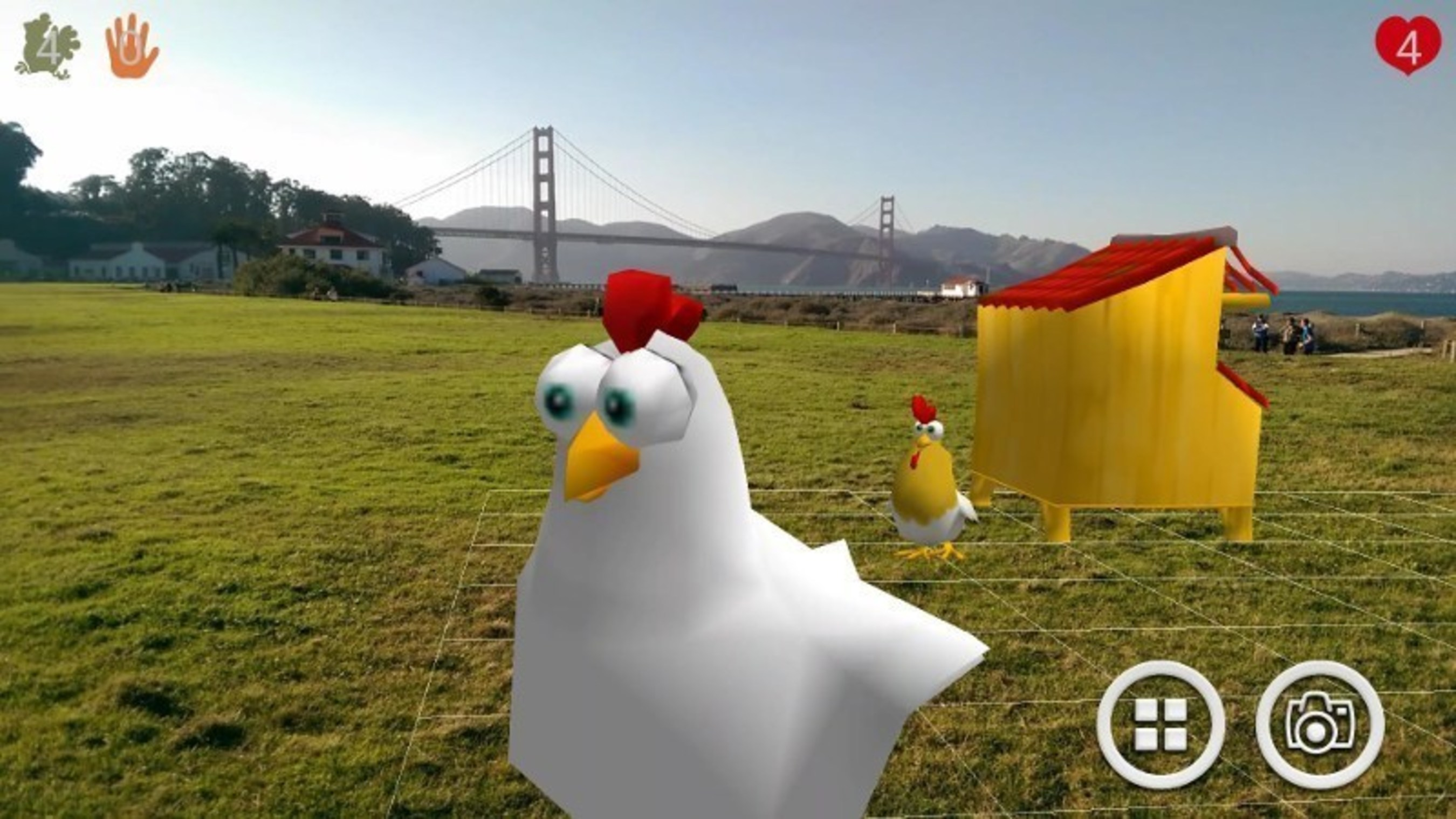 Virtual chickens have flown the coop in the augmented reality app Chicken Charge.