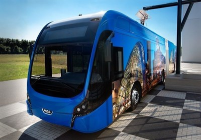 43 completely electrically powered articulated buses (18 metres) will be operating in a single Public Transport concession in the Eindhoven region, The Netherlands. This is an important step leading to sustainable bus transportation and a glimpse at the future of Public Transport (PRNewsFoto/Transdev)