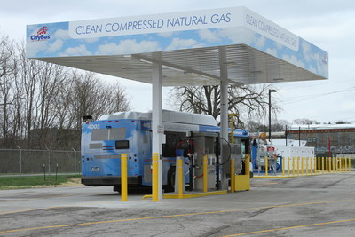 CNG bus filling at new Lafayette, Indiana's CityBus fast-fill CNG station, designed by ESG and TruStar Energy. TruStar Energy and ESG are proud to celebrate the grand opening of their new station, which will eventually fuel 73 CNG-powered buses when full fleet migration is achieved.