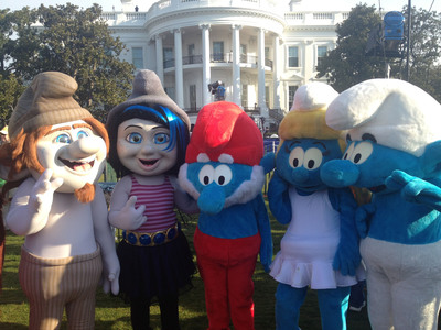 """Gargamel's creations Hackus and Vexy (far left and center left), along with Papa Smurf (center), Smurfette (center right), and another Smurf from the village (far right) participated in the 2013 White House Easter Egg Roll today. Columbia Pictures/Sony Pictures Animation's """"The Smurfs(tm) 2"""" will be released in theaters on July 31, 2013. (PRNewsFoto/Columbia Pictures/Sony Pictures Animation) (PRNewsFoto/COLUMBIA PICTURES/SONY PICTURES)"""