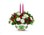 Teleflora's Holly Days Centerpiece from the Homemade for the Holidays 2014 collection. (Photo courtesy of Teleflora.)