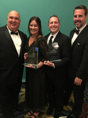 Enterprise employees accept awards for Best Travel Agent Support and Highest Client Satisfaction at the 2016 TravelAge West WAVE Awards. From left to right: Jeff Coggin, Erika Beaucage, Aaron Browne and Jay Pope.