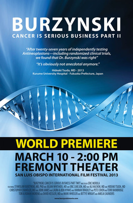 Film Poster for Burzynski, the Movie; Burzynski: Cancer is Serious Business, Part II.  (PRNewsFoto/Director Eric Merola)
