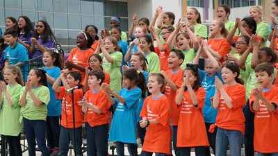 Nearly 200 elementary school students participated in The Children's Hospital of San Antonio Transformation Celebration by performing The Fight Song by Rachel Platten.