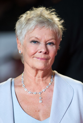 Dame Judi Dench wears a fine white oval and pear-shape diamond necklace with marquise-cut surrounds and round white diamonds, totalling 34.33cts. It is teamed with a delicate Platinum round white diamond tennis bracelet totalling 12cts and brilliant-cut diamond studs with diamond micro-surround setting totalling 3.40cts. All by DAVID MORRIS www.davidmorris.com.  (PRNewsFoto/David Morris)