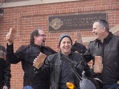 Bill Davidson, great-grandson of company co-founder William A. Davidson, left, Christian Walters, Managing Director, United States at Harley-Davidson Motor Company, and Matt Levatich, President and Chief Operating Officer of Harley-Davidson Motor Company, right, celebrate after removal of bricks from the historic Milwaukee headquarters using a 2015 Harley-Davidson Street® 750 motorcycle. In the spirit of this year's 75th Sturgis Motorcycle Rally, that brick, alongside one from the Harley-Davidson Museum...