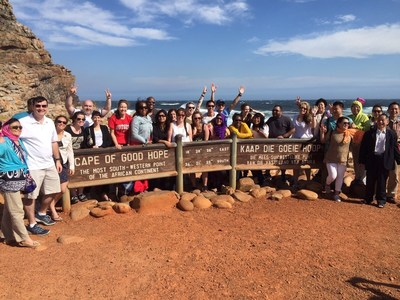 Rutgers MBA students have opportunities to learn more about businesses and business issues by traveling internationally. Current MBA students on a winter program in South Africa.