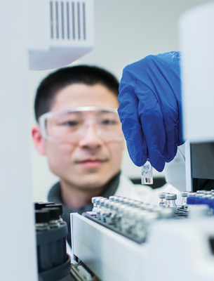 FMC Corporation reported the company invested 57 percent of its 2013 research and development spend on projects that impact global sustainability challenges. Zheng Chen, senior analytical chemist, conducts gas chromatography analysis at the new FMC Asia Innovation Center in Shanghai. (PRNewsFoto/FMC Corporation)