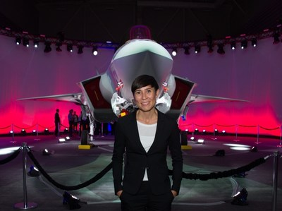 Norwegian Minister of Defence, Her Excellency Ine Eriksen Soreide, with the Norwegian Armed Force's first F-35A Lightning II, known as AM-1, at the Lockheed Martin F-35 production facility in Fort Worth, Texas. The rollout marks an important production milestone for the F-35 program and the future of Norway's national defense. Lockheed Martin photo.