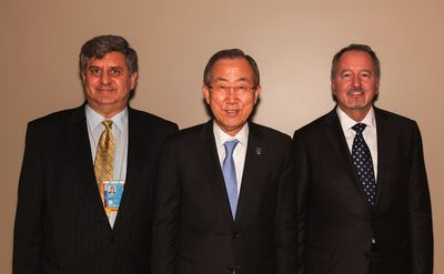 f.l.t.r.: Director of the United Nations Alliance of Civilizations Matthew Hodes, UN Secretary-General Ban Ki-moon and BMW Group Vice President Communications Strategy, Corporate and Market Communications Bill McAndrews. © BMW Group (PRNewsFoto/BMW Group)
