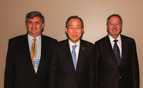 f.l.t.r.: Director of the United Nations Alliance of Civilizations Matthew Hodes, UN Secretary-General Ban ...