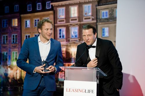 Frits Engelaer and Dirk Hoffmann. Product and Service Innovation of the Year Award applauds DLLâeuro(TM)s forward-thinking approach to sustainability. (PRNewsFoto/De Lage Landen)