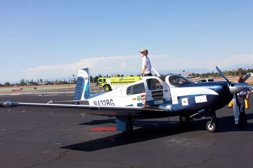 Jack Wiegand, 21, lands safely in Fresno, CA to become the youngest pilot to fly solo around the world.  (PRNewsFoto/SOLO 20/13)