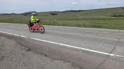 Cathy Rogers, 57, is the first person to ride across the USA on a Pedego electric bike.
