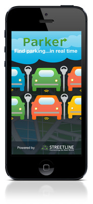 Parker(TM) by Streetline, the award-winning parking guidance app, receives an updated, clean refresh to make finding an open parking spot even easier. See real-time availability for both on-street parking spaces, as well as nearby lots and garages. Parker also shows information on hours, rates, and policy information. Drivers can use the app hands-free with on-click voice guidance, and soon, will be able to access Parker data through in-car navigation systems.  (PRNewsFoto/Streetline, Inc.)
