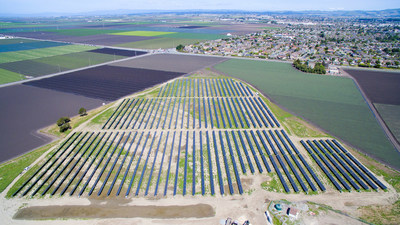 Aerial shot of the City of Salinas' commanding 2MW solar farm, adjacent to the City Animal Services Center in the Salinas Valley. The energy generated by the City's new solar produces the equivalent to the amount needed to power over 375 homes.