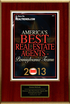 "Kristin McFeely Selected For ""America's Best Real Estate Agents 2013 - Pennsylvania Teams"". (PRNewsFoto/American Registry) (PRNewsFoto/AMERICAN REGISTRY)"