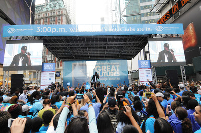 "Ne-Yo performs during Boys & Girls Clubs of America's launch of the Great Futures Campaign to call attention to the critical role of out-of-school time for kids on Thursday, July 31, 2014 in Times Square, New York. BGCA took over Times Square to ""redefine the opportunity equation"" and garner support for after-school and summer programs that empower youth toward success.  (PRNewsFoto/Boys & Girls Clubs of America)"
