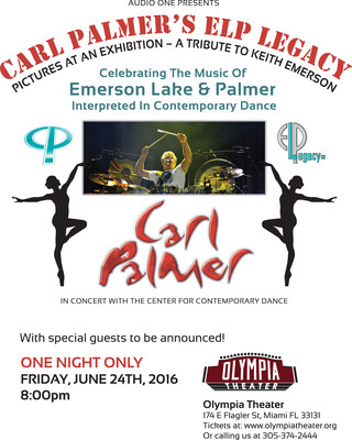 Carl Palmer's ELP LEGACY announces its 9th Tour of North America: REMEMBERING KEITH AND THE MUSIC OF EMERSON LAKE & PALMER. Shows will being in New York City June 2nd, 2016 and finish in Dallas, Texas, July 12th. Special Tribute Show: PICTURES AT AN EXHIBITION- A TRIBUTE TO KEITH EMERSON to be held one night only at The Olympia Theater in Miami Florida on Friday, June 24th.  This historic show will blend the music of ELP with contemporary dance, cinematic images and performances by Carl Palmer's ELP Legacy and special guests. Tickets for all shows available at:  http://www.carlpalmer.com/tourdates.php