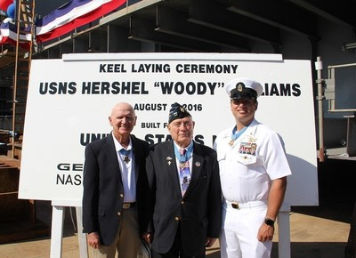 """General Dynamics NASSCO hosted a keel laying ceremony for the future USNS Hershel """"Woody"""" Williams, the U.S. Navy's second Expeditionary Sea Base currently under construction at the company's shipyard. Many dignitaries and fellow Medal of Honor recipients attended the ceremony."""