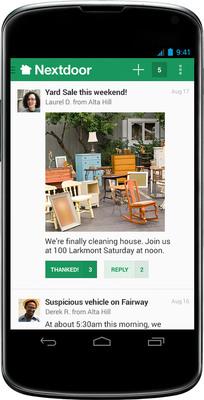 Coordinate a yard sale with your neighbors via the Nextdoor mobile apps.  (PRNewsFoto/Nextdoor)