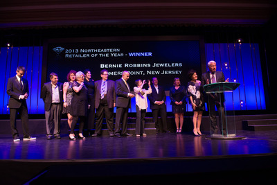 Hearts On Fire retailer Bernie Robbins Jewelers, from New Jersey and Pennsylvania, is awarded the 2013 Global Retailer of the Year award at Hearts On Fire University. This award is given annually to the retailer who best illustrates the highest level of sales performance, as well as commitment and implementation of elements that support Hearts On Fire's innovative brand goals and differentiation.  (PRNewsFoto/Hearts On Fire)