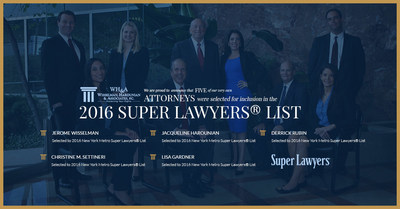 Five Wisselman, Harounian & Associates, P.C. Attorneys Selected to 2016 New York Metro Super Lawyers(R) List