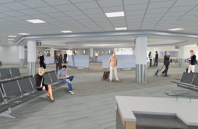 A $20.6 million concourse renovation at Clinton National Airport includes new gate seating with in-seat recharge, faster Wi-Fi with speeds above 100 Mbps up and down, per device, and better cell phone connectivity with installation of a distributed antenna system.