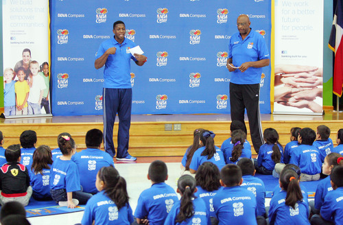 NBA legends Felipe Lopez and Bob Lanier talk to students from Chavez Elem. School in Pharr, TX.  ...