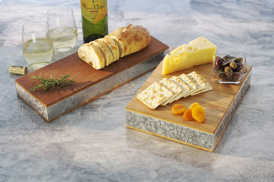 Iconic Wendell August metal designs adorn quality Warther cutting and serving boards to create functional pieces of art for everyday use in the kitchen.