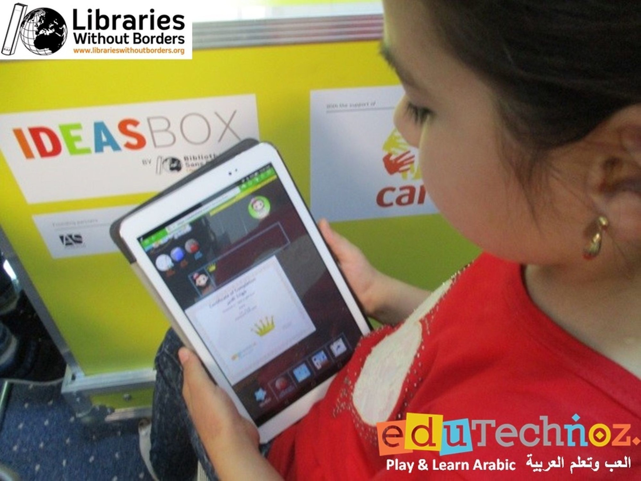 Libraries Without Borders and eduTechnoz, two organisations supported by the WISE Accelerator, started a collaboration that helps Syrian children in Jordan benefit from Arabic lessons through innovative technologies. (PRNewsFoto/WISE)