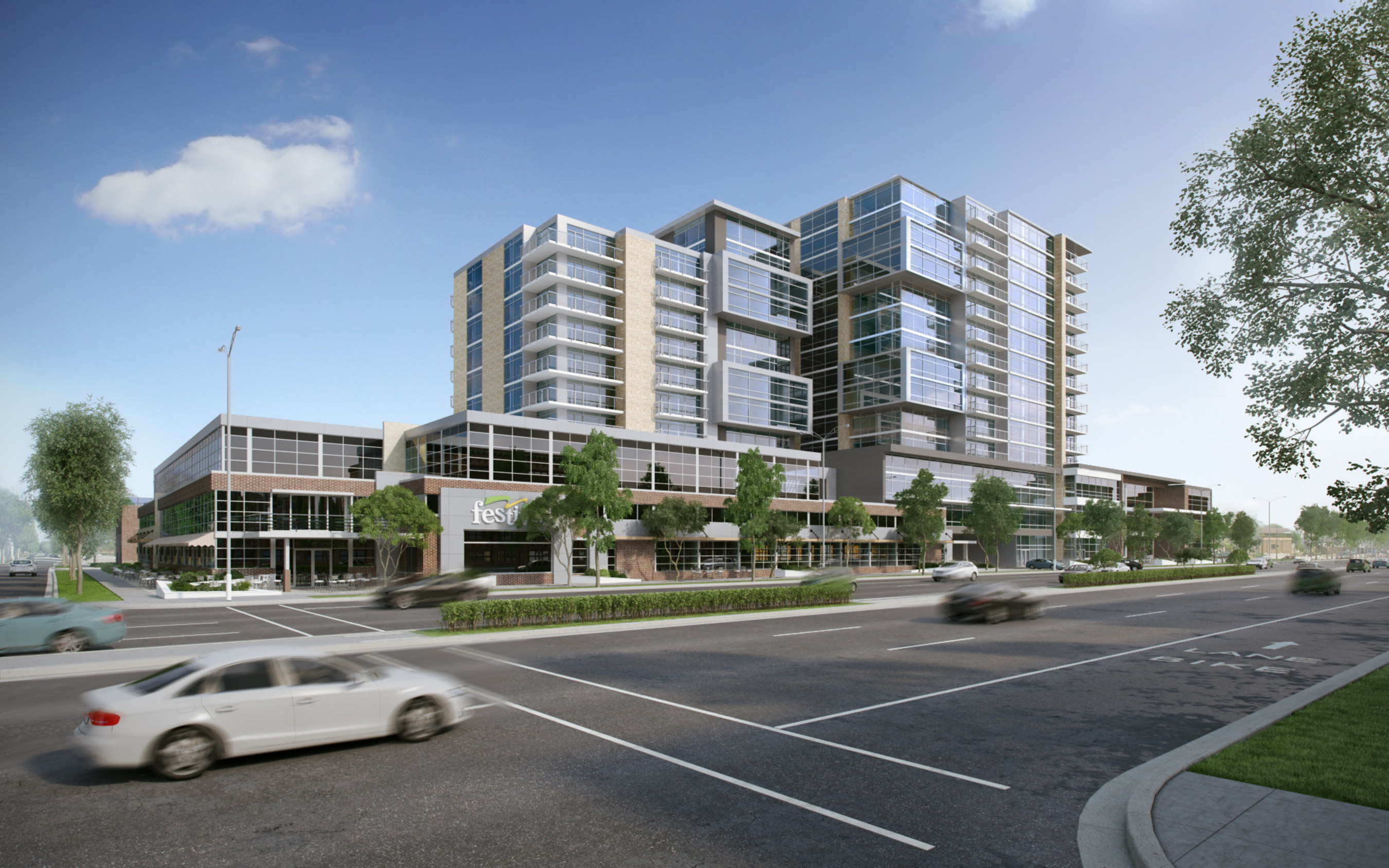 Associated Bank's new branch will be located on the ground level, far right in this rendering of the Galaxie Development