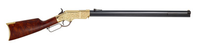 In 2014 Henry will introduce a deluxe engraved version of the Original Henry Rifle .44-40 featuring a fancy American walnut stock and an 1860s period style engraved hardened brass receiver. Limited edition of 1000 units with serial numbers ranging from BTH00001 to BTH01000. MSRP $3,495.00.  (PRNewsFoto/Henry Repeating Arms)