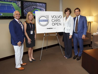 From left to right: Chairman and CEO Steve Lacy and Chief Marketing Officer Nancy Weber of Meredith Corporation joined Bodil Eriksson, VP of Marketing and Lex Kerssemakers, CEO Volvo Cars of North America at the U.S. Open to announce the Volvo Cars Open, a Family Circle Event partnership. (PRNewsFoto/Meredith Corporation)