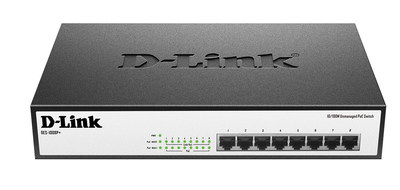 The DES-1008P+ features eight 10/100 Mbps Fast Ethernet PoE+ ports, all of which support IEEE 802.3at (30W). (PRNewsFoto/D-Link)