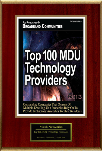 """Mesh Networks Selected For """"Top 100 MDU Technology Providers"""". (PRNewsFoto/Mesh Networks) (PRNewsFoto/MESH NETWORKS)"""