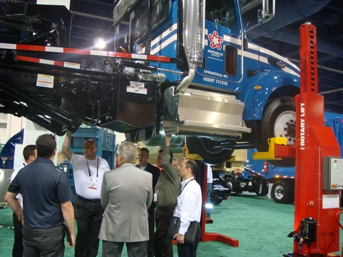 Rotary Lift's timesaving Mach(TM) series mobile column lift will be on display in the new Rotary Lift booth (#341) at WasteExpo 2014 in Atlanta. (PRNewsFoto/Rotary Lift)