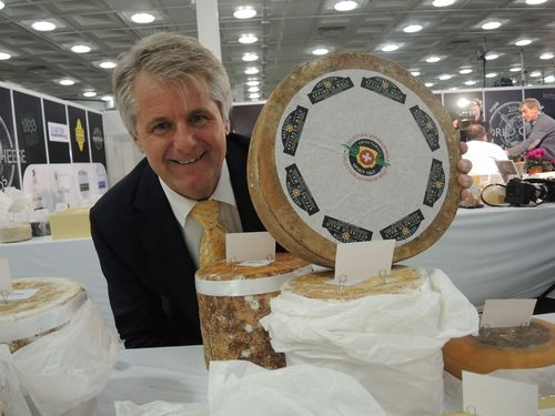 Affineur Walo von Muhlenen and his award winning cheese at the World Cheese Awards 2014 London, GB. (PRNewsFoto/Affineur Walo von Muhlenen)