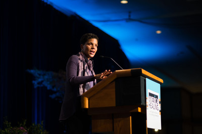 Michelle Alexander, author of The New Jim Crow, and keynote speaker at the W.K. Kellogg Foundation's 2013 America Healing Conference in Asheville, N.C. addresses the nearly 500 participants on the issue of mass incarceration of people of color.  (PRNewsFoto/W.K. Kellogg Foundation)