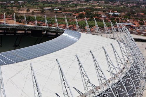 Castelao stadium closer look on inner ring SUNTUF roofing (PRNewsFoto/PALRAM)