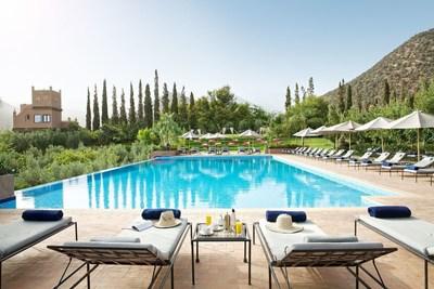 Take a dip in Kasbah Tamadot's outdoor infinity pool