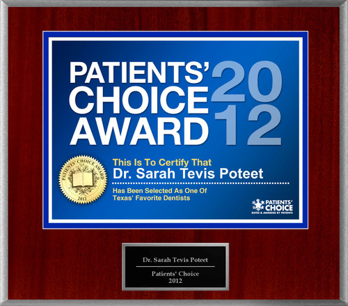 Dr. Poteet of Dallas, TX has been named a Patients' Choice Award Winner for 2012