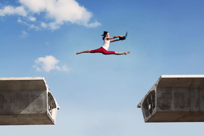 International Contests: Jumping over a bridge via Shutterstock.  (PRNewsFoto/Carnegie Council for Ethics in International Affairs)