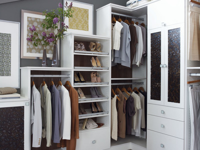 Ponder Dark Ecoresin brings style to California Closets' door fronts in Lago® Bellissima White.