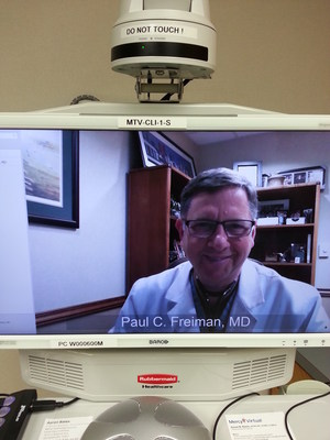 Cardiologist Dr. Paul Freiman can now visit with Mercy patients virtually.