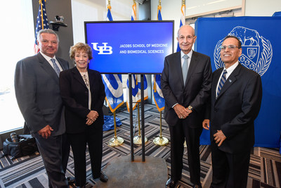 Delaware North Chairman Jeremy M. Jacobs (second from right) and his wife, Margaret, joined University of Buffalo President Satish K. Tripathi (far right) and Dr. Michael E. Cain, vice president for health sciences at UB and dean of the medical school, in announcing the Jacobs family's $30 million gift. UB's medical school will be renamed the Jacobs School of Medicine and Biomedical Sciences in recognition of Jacobs' service to and philanthropy in support of the university.