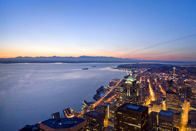 Sky View Observatory, the highest public observatory on the west coast.  Located at Columbia Center in Seattle, Washington.  (PRNewsFoto/Sky View Observatory)