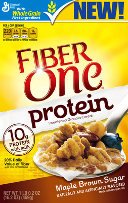 New Fiber One(R) Protein cereal redefines breakfast with the powerful combination of protein and fiber in one delicious box. Available in two flavors, maple brown sugar and cranberry almond, Fiber One Protein provides the great taste and fiber you love and expect from Fiber One, with protein. (PRNewsFoto/Fiber One) (PRNewsFoto/FIBER ONE)